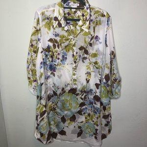 Coldwater Creek Silk Blend Floral Tunic Shirt 1X